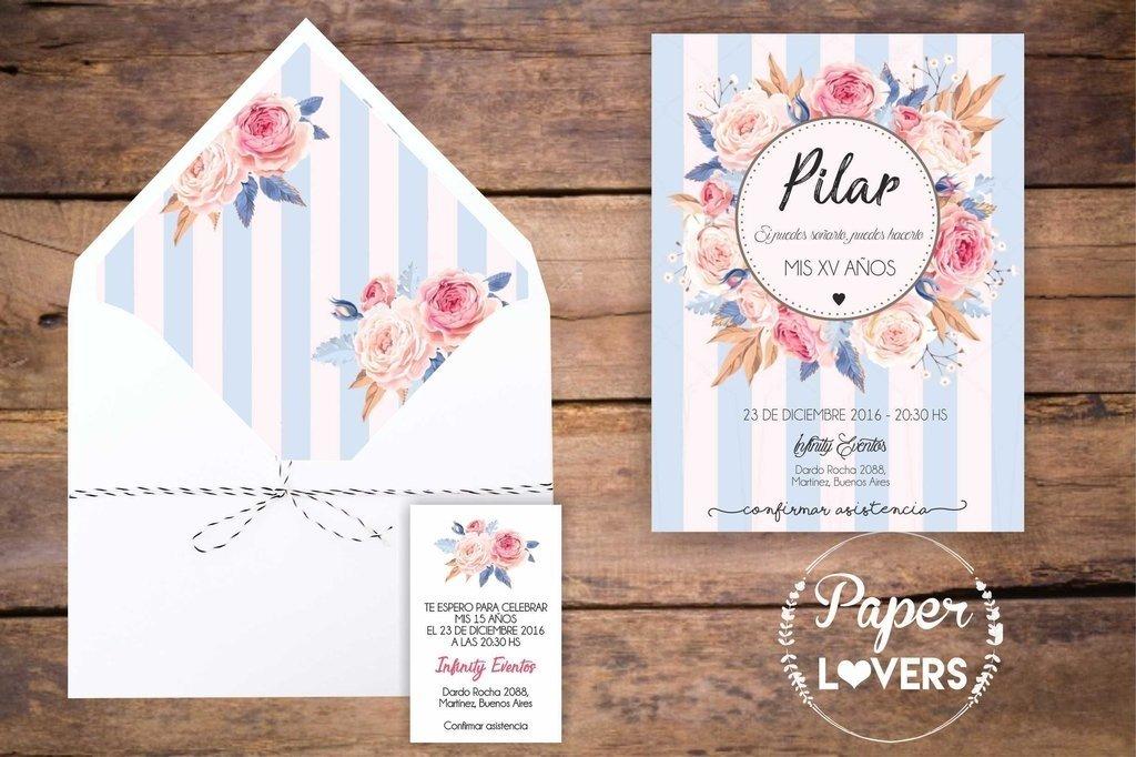 Invitación 15 Años Modelo Pilar Paper Lovers