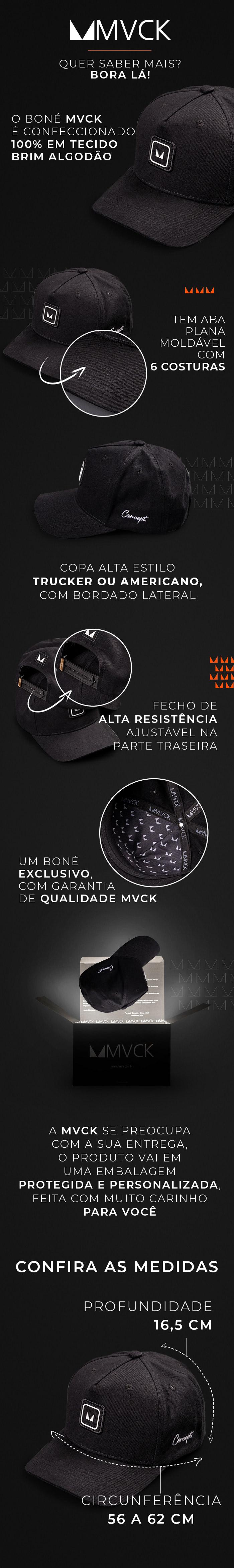 Descrição Boné Aba Curva Preto Concept Classic
