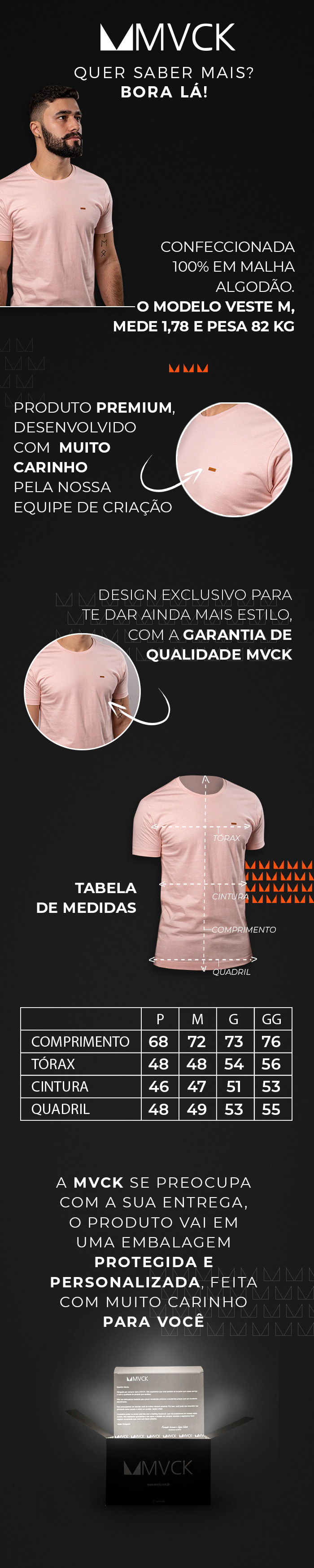 Descrição Camiseta Masculina Rosê