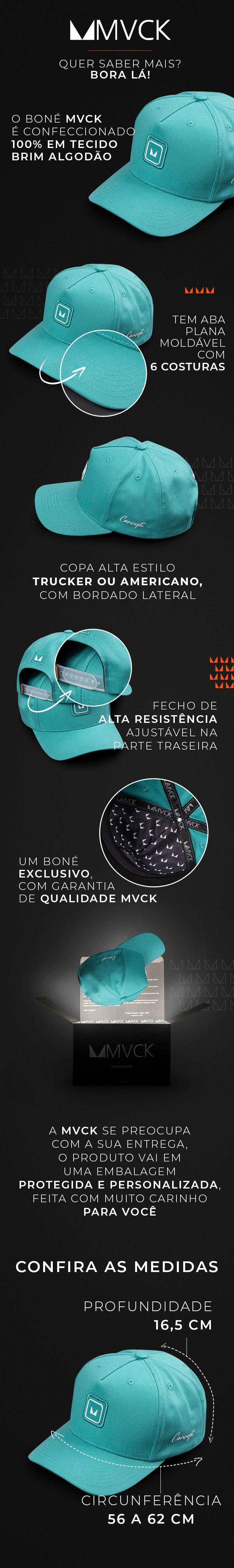 Descrição Boné Aba Curva Verde Tiffany Concept