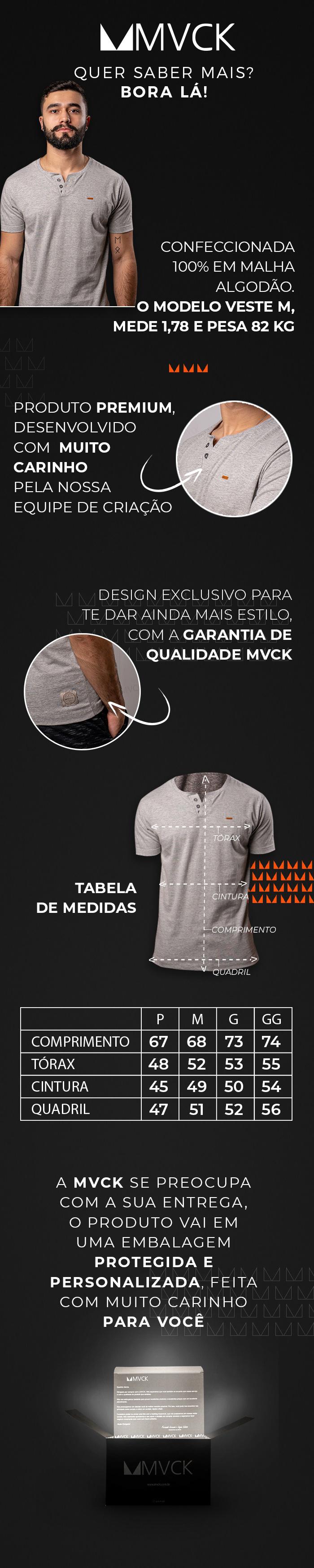 Descrição Camiseta Masculina Cinza Claro Henley
