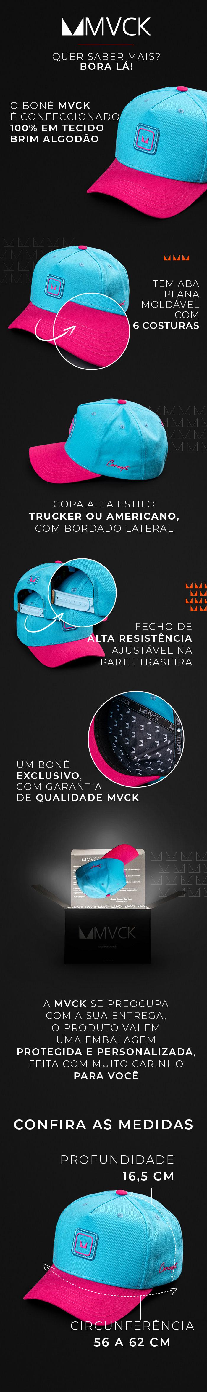 Descrição Boné Aba Curva Azul e Pink Concept