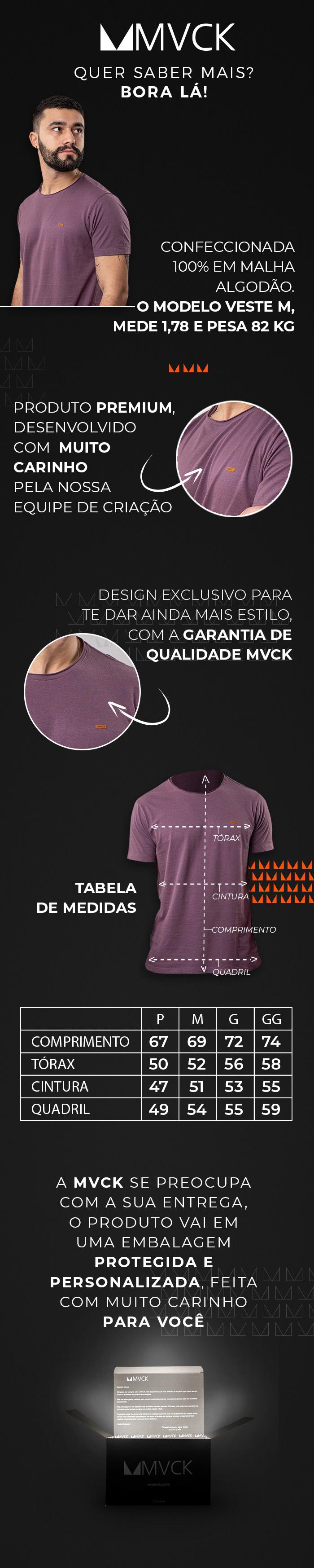 Descrição Camiseta Masculina Roxa