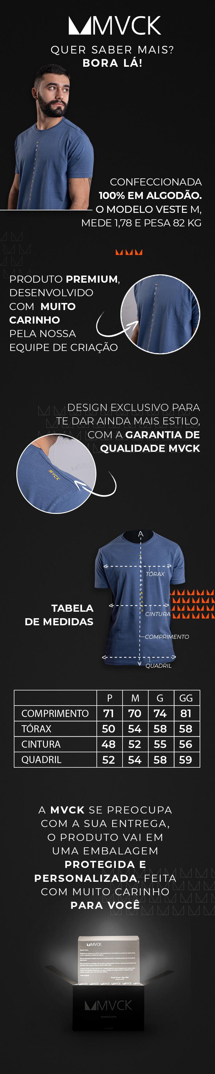 Descrição Camiseta Masculina Azul Original Brand