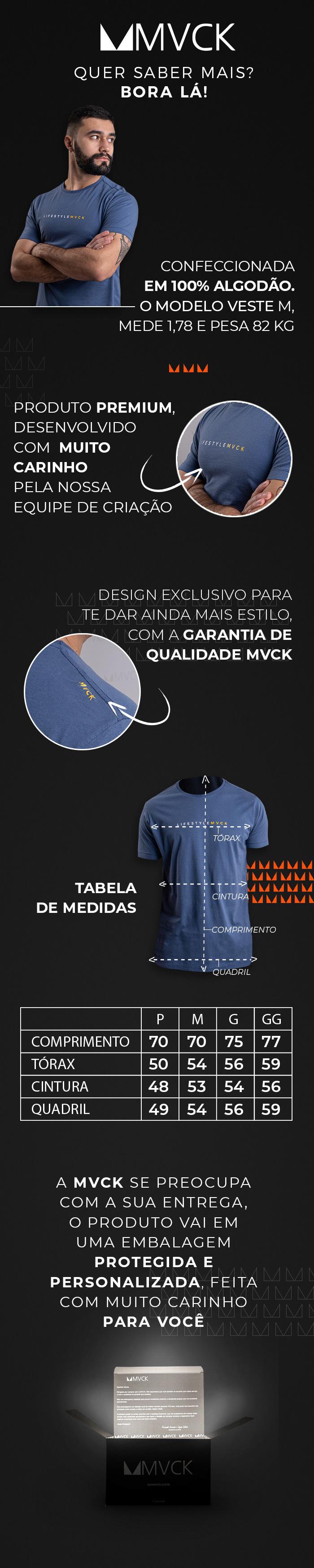 Descrição Camiseta Masculina Azul Lifestyle