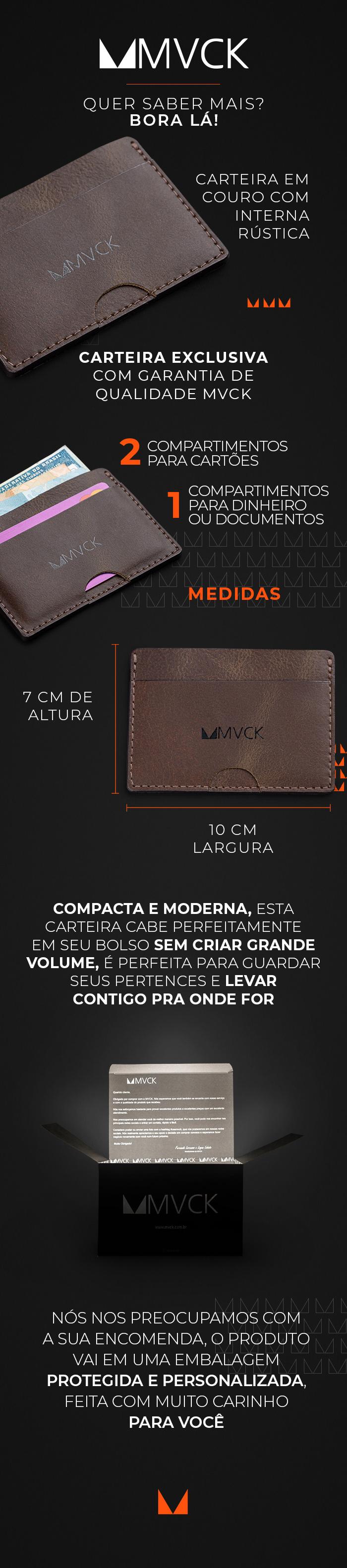 Descrição Carteira Couro Porta Cartão Slim M3