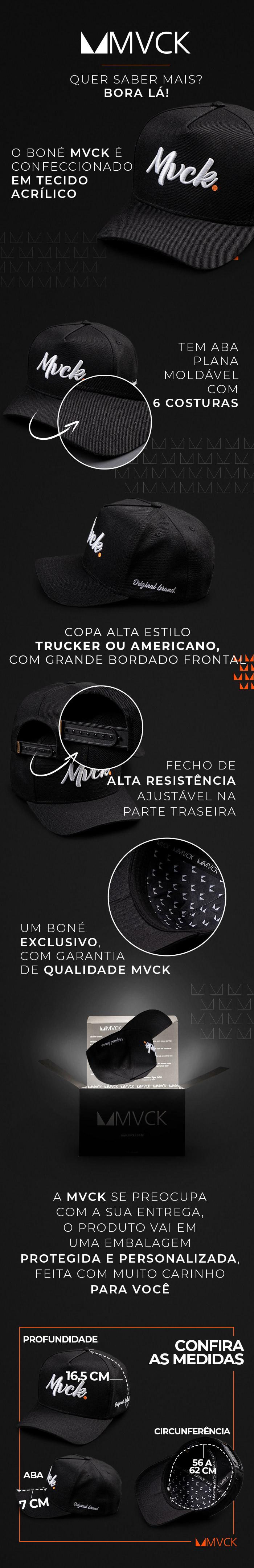 Descricao Boné Aba Curva Bordado Preto e Branco Original Brand
