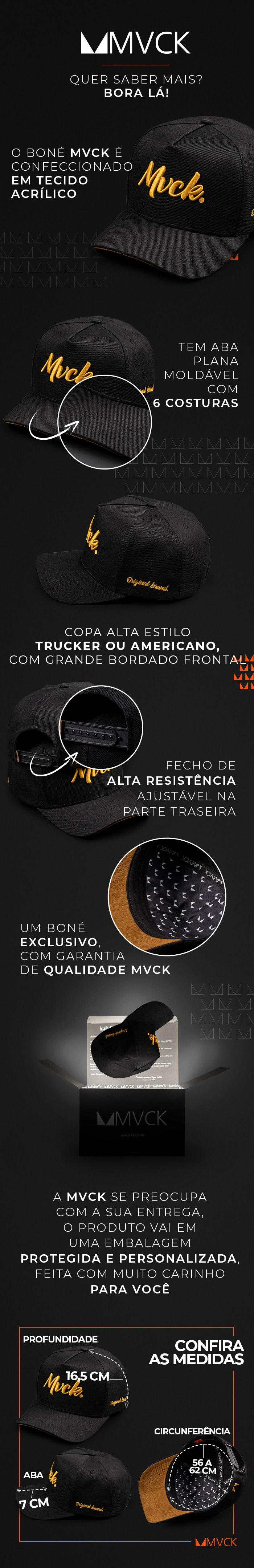 Descricao Boné Aba Curva Bordado Preto com Amarelo Original Brand
