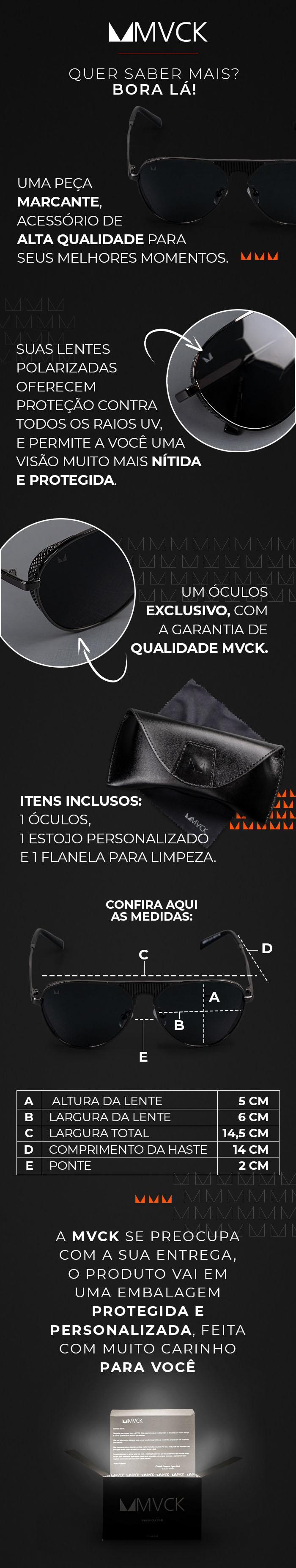 Descrição Óculos de Sol Masculino Polarizado Mônaco