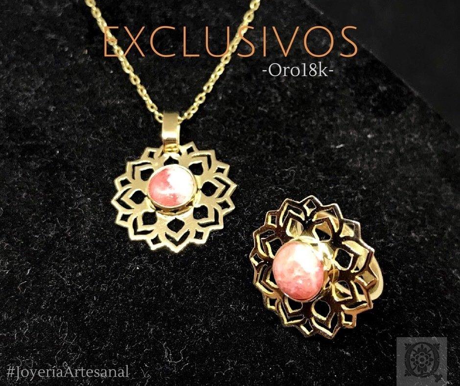 Conjunto de Anillo Mandala y Dije Mandala de Oro con Rodocrosita
