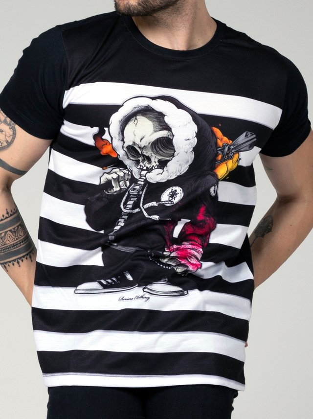 T-SHIRT MINI SKULL STRIPES