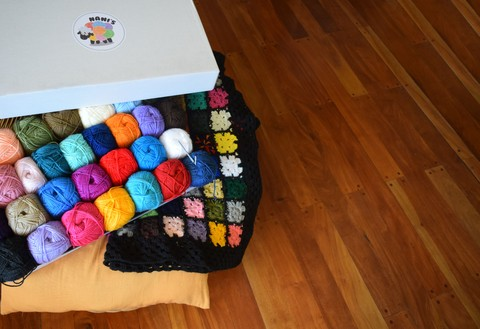 kit para tejer manta crochet  de colores de 1 plaza 1/2