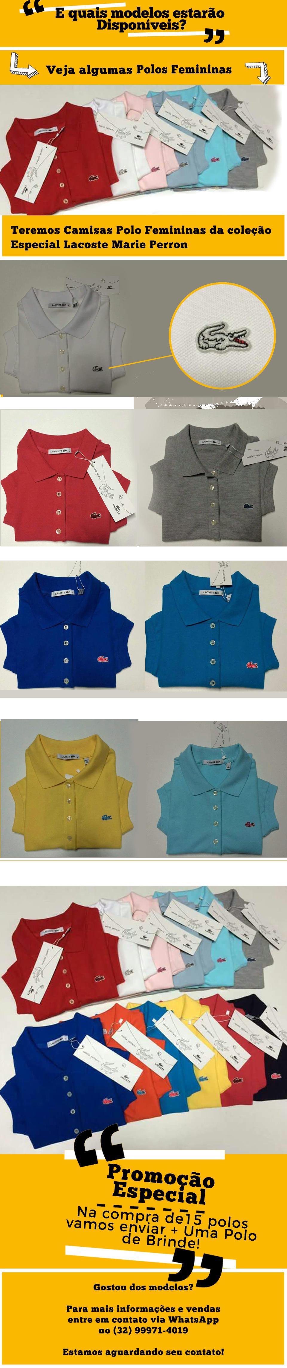 083008e22a3ef Camisas polo lacoste femininas promoção especial coleção especial