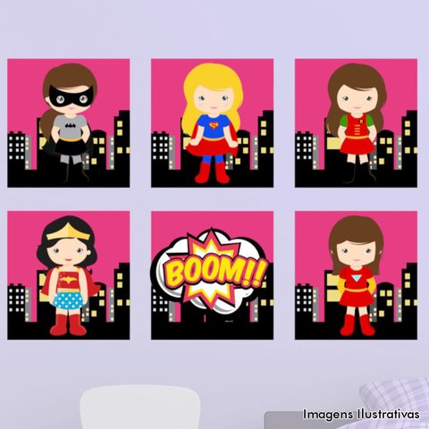 Kit de Quadro Decorativo Infantil Super Heroínas Boom