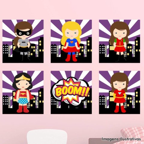 Kit de Quadro Decorativo Infantil Super Heroínas Boom II