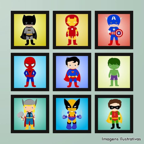 Kit de Quadro Decorativo Infantil Super Heroí III