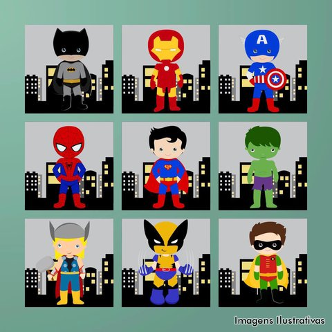 Kit de Quadro Decorativo Infantil Super Heroí IV