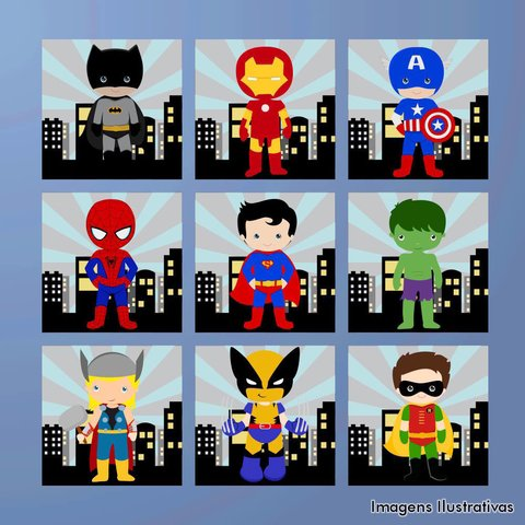 Kit de Quadro Decorativo Infantil Super Heroí V