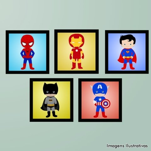 Kit de Quadro Decorativo Infantil Super Heroí