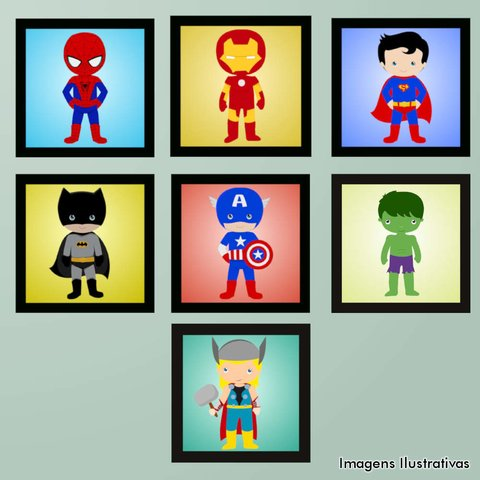 Kit de Quadro Decorativo Infantil Super Heroís 2