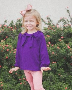 Camisa Gola Laço Purple - Clara and Me - Moda Infantil