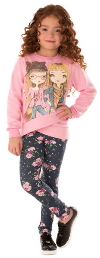 Conjunto Girls Time Kids Rosa/ Marinho