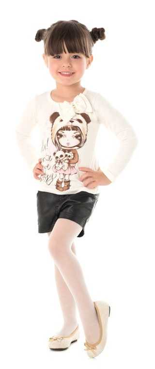Blusa Happy Time Kids Manga Longa Marfim