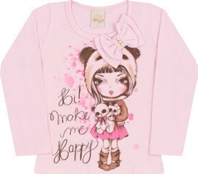 Blusa Happy Time Kids Manga Longa Rosa