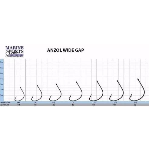 ANZOL Marine Sports WIDE-GAP PRETO PC C/40 2/0 - comprar online