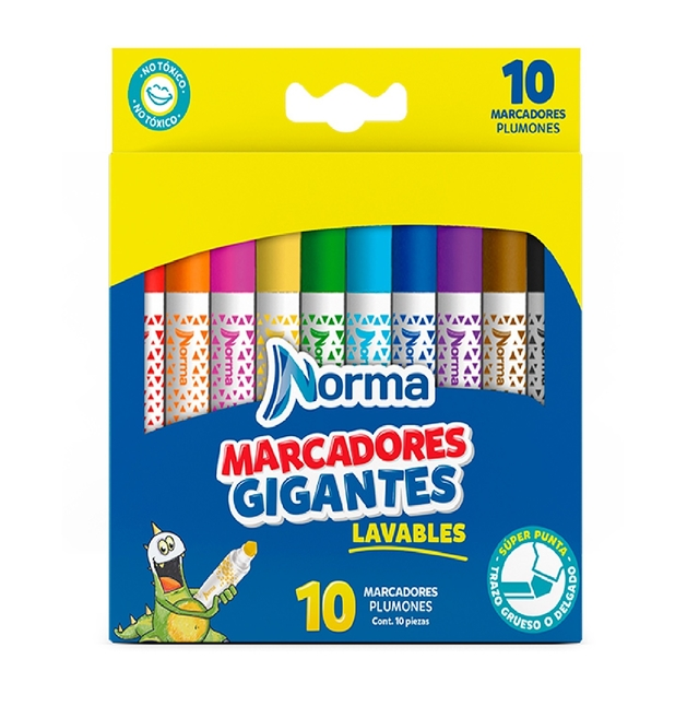 MARCADORES NORMA LAVABLE GIGANTES JUMBO X 10 UND