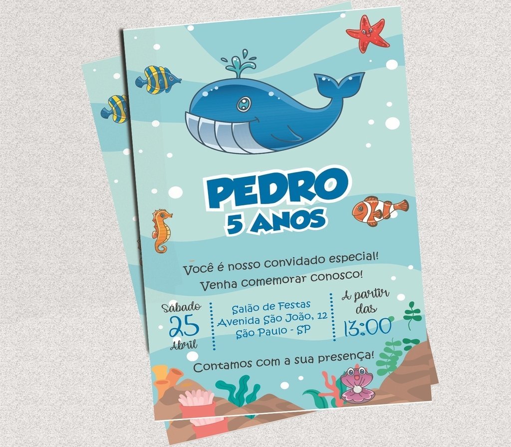 Convite Digital Fundo Do Mar Luck Lembranças