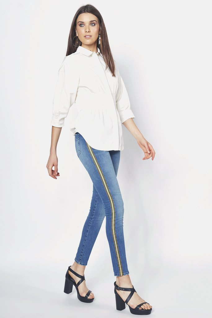 Calca Jeans Cory Listra Lateral