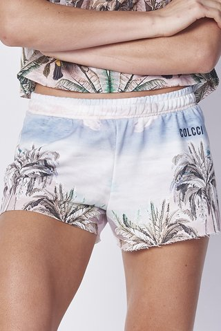 Short Moletom Estampado Tropical - comprar online
