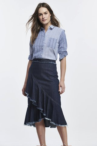 dfb01ebd8 Saia Midi Jeans Babados - SHOP COLCCI OFICIAL  Saia Midi Jeans Babados ...