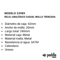 RELOJ CASUAL CON CALENDARIO MALLA TEJIDA - Paddle Watch