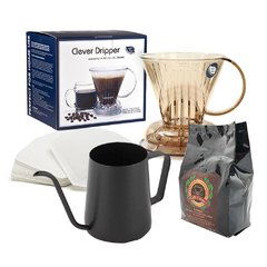 Kit Clever Coffee Dripper Marrom 300ml Mini Chaleira FPRO Teflon 350ml Filtro coador 100 Uni e Café Exato Gourmet 250g