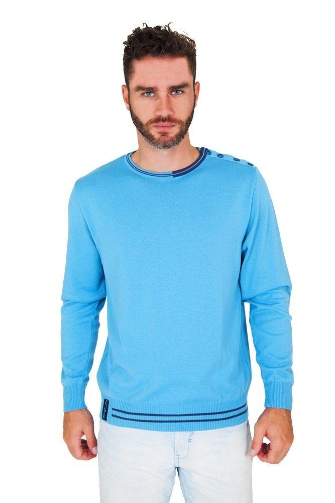 beb8be8846 Blusa G dom Azul Com Cotoveleiras E Botões – Loja Good Mood