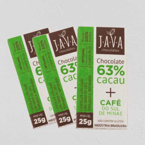 Chocolate com Café, 63% Cacau - 3 tabletes de 25g (total: 75g)