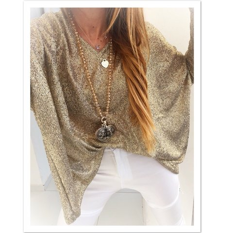sweater oro escote en v