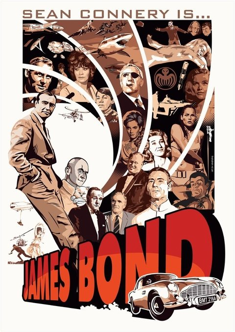 Print A3 - James Bond - Sean Connery - Andre HQ