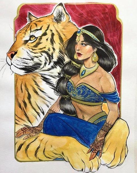 Original Art -  Jasmine and Rajah - Lucas Werneck