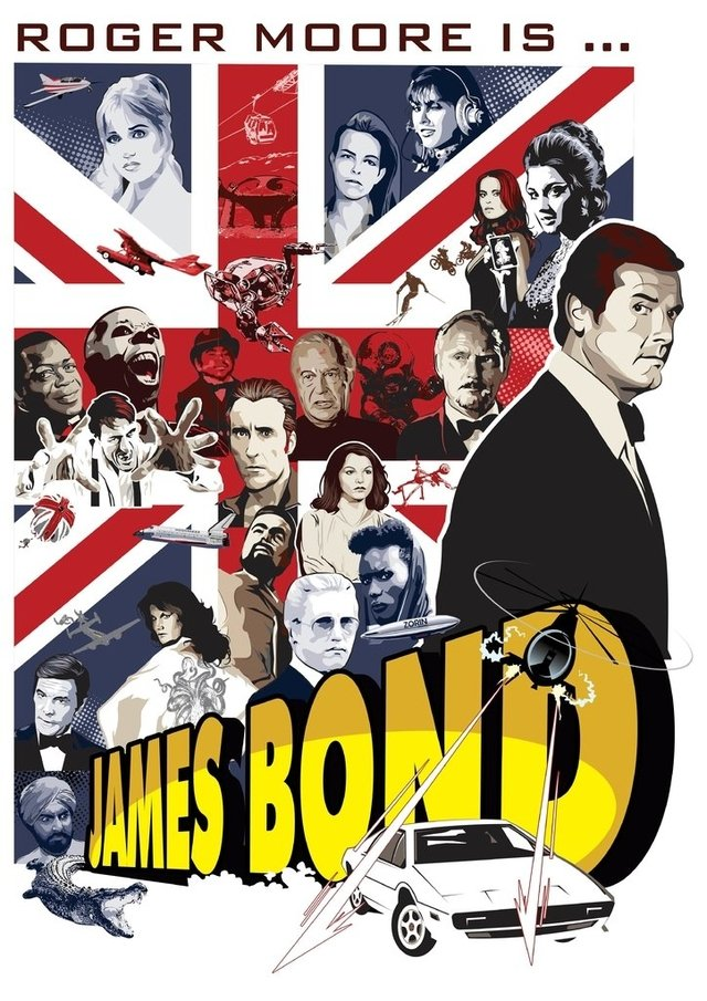 Print A3 - James Bond - Roger Moore - Andre HQ - buy online