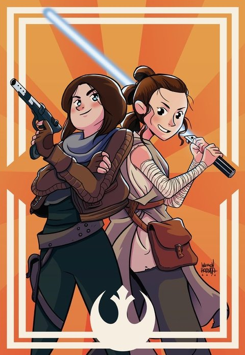 Print - Star Wars - Girl Power - Ray and Jyn - Werllen Holanda