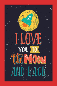Quadro I love you to the moon na internet