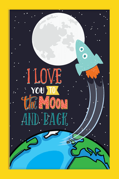 Imagem do Quadro I love you to the moon #3