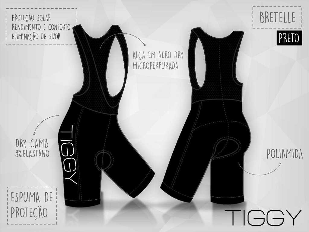Bretelle Ciclismo - Uniforme Alto padrão - TIGGY Race Team - 2017