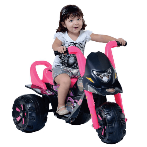 Moto Elétrica Infantil Fox G-Force Teen Monstros Preto/Rosa