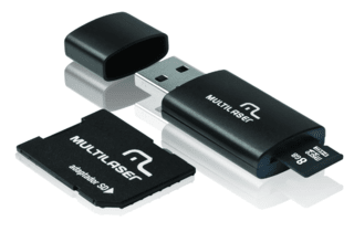 Pen Drive 3 em 1 USB MicroSD Card c/ Adaptador SD 8GB Multil
