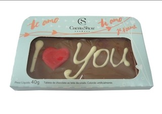 PLACA DE CHOCOLATE I LOVE YOU
