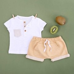 LOOK TUNA BOLSILLO LINO + SHORT LIMA MIEL